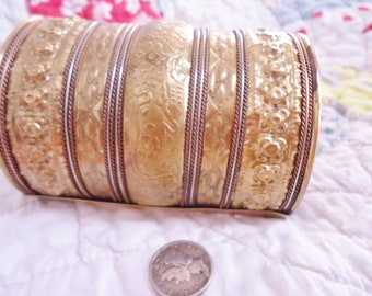 Ornate Vintage Art Deco Egyptian Revival Large Extra Wide Brass Cuff Bracelet