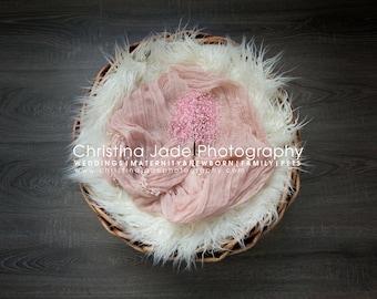 Newborn Girl Fluffy Basket Digital Background