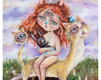 Mom rabbit - Pop surrealism original painting