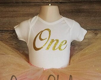 Glitter Gold Cursive One Bodysuit. Gold One Bodysuit. Gold First Birthday.