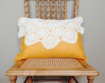 Linen Pillow with Vintage Crochet Doily