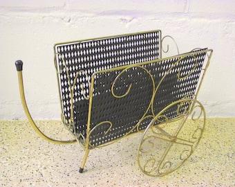 Mid Century Wagon Magazine Newspaper Holder Metal Mesh Cart Basket with Wheels - Mid century Modern wire holder Rack Gold and Black
