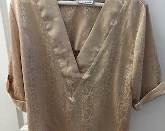 1980s Light Gold Blouse