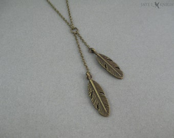 Feathers Lariat Charm Necklace - Bronze