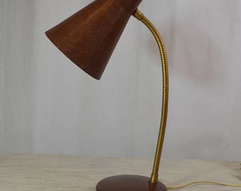 Vintage Brown Fiberglass Goose Neck 50's Desk Lamp
