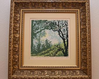 "Kurtis N. Thomas, artist ""Once Upon a Springtime Morning"" serigraph signed 1982"