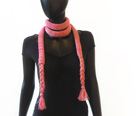 Juicy Pink Chunky Spaghetti Scarf - Autumn Scarf in Dusky Pink - Pink Skinny Scarf for Ladies / Teenaged Girls. Little Scarves Thin Scarf