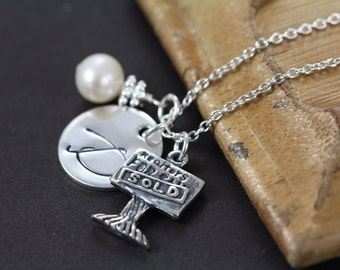 Realtor Gift ,  Personalized Jewelry for Real Estate Agent, Realtor Necklace 925 Sterling Silver