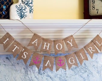 Ahoy It's A Girl Banner, Nautical Banner, Nautical Baby Shower Banner, Nautical Girl Banner,  B072