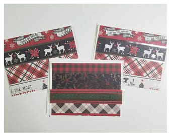 Plaid Background Christmas Card with Envelope
