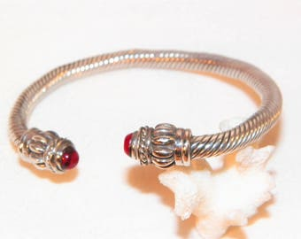7 Inch 37 Gram Solid Sterling Silver Undyed Oxblood Red Coral Tipped Adjustable Bracelet, Old 925 Vintage Or Antique Hand Made Bracelet,Nice