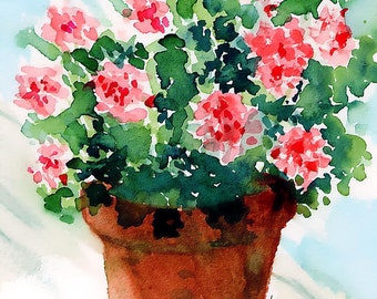 Geraniums in Clay Flower Pot,  Pink snd Red Geraniums, Green Leaves, Impressionist, Watercolor Print