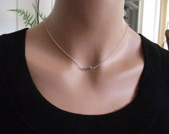 Small Sideways Cross Necklace, Sterling Silver, Celebrity Inspired