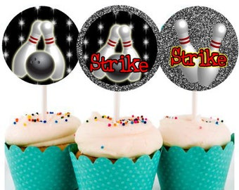 Bowling cupcake topper - Printable cupcake topper - Bowling birthday party - Bowling party - Printable bowling tags - Instant download