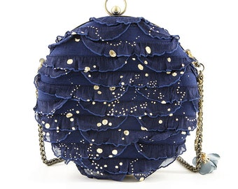 Blue lace minaudiere box clutch, custom to order, suitable for 5.5 inches cellphone like iPhone Plus L70f1