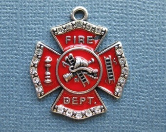 Fire Department Charms - Fireman Charms - Firefighter Charm - Fireman - Fire Department-  Enamel - 26mm x 30mm  --(No.107-12172)