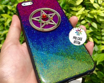 iphone 8 case, iPhone X, sailor moon phone case, glitter case, iphone5, iphone6, iphone case, resin case, iphone6 plus,samsung case, rainbow