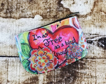 Free Bird Coin Purse, Change Purse, Credit Card Holder, Bohemian Bag, Hippie Art, Whimsical Art, Coin Pouch, Doodle Flower Art, Card Wallet