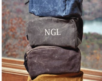 Men's Monogrammed Toiletry Bag, Embroidered Waxed Canvas toiletry bag, personalized toiletry bag for men, personalized groomsmen gifts, MT03