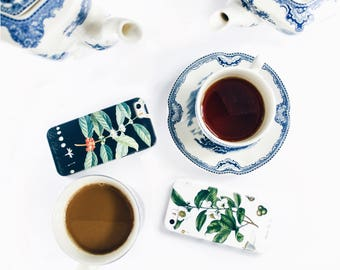 2 Phone Cases - Coffee and Tea - Opposites Attract iPhone X 8, 7, 6S Plus Best Friend Galaxy Cases Couples Gift Engagement Gift Coffee Gift