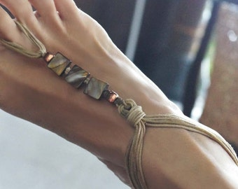 Nude Barefoot Sandals, Boho Barefoot Sandals, Shell Sandals,  Shell Anklet, 1 Pair, ON SALE