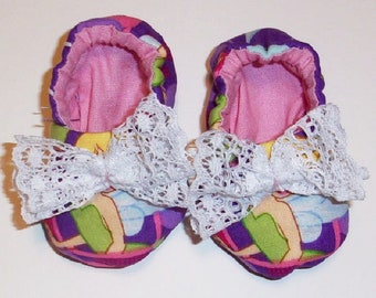Baby Girls Tinker Bell Soft Fabric Shoes with lace, Baby Girl Booties, Baby Shower Gift, Baby Girl Gift, Purple  Handmade Baby Shoes, #7