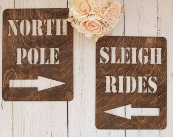 North Pole Sign Sleigh Rides Sign Christmas Signs Rustic Holiday Signs #downintheboondocks