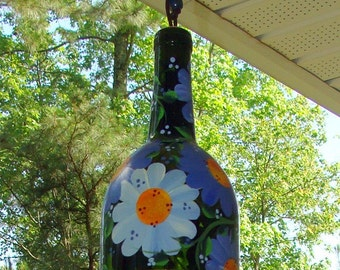 """Wind Chime, """"Blue Crush"""" , made from recycled wine bottle -  fashioned  into a  Large Wine-Chime!"""