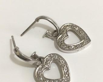 Sterling silver heart post dangle earrings.