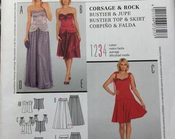 UNCUT Burda Pattern 7317 - Women's Prom Dress, Dress for Wedding, Bustier Top and Skirt Combination - Size 6-20 (EUR 32-46)