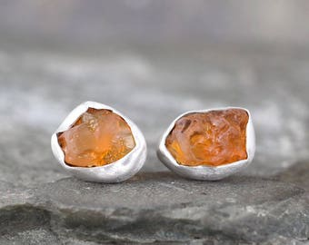October Birthstone Earrings - Raw Fire Opal Earrings - Uncut Rough Opal Earring - Sterling Silver Stud Style - Rustic  Raw Gemstone Earrings