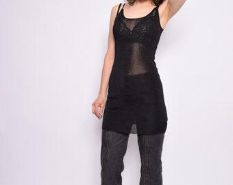 Vintage 90's Metallic Black Sheer Top / Sleeveless See Through Slip Top - Size Small