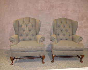 Pair of Broyhill Tufted Oversized Wing Chairs w/Stretcher Base
