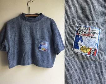 80s Crop Top Grunge Y2K Nivana Striped Medium Blue Tee Shirt cropped top