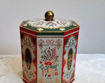 Vintage Tin With Hearts Folk Art Designs In Gold Red Green White Made in Western Germany, Octagon Metal Container, Christmas Gift Tin
