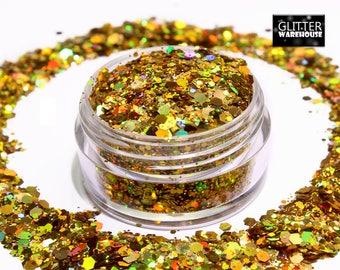 GlitterWarehouse Gold Chunky Glitter Mix Holographic Mermaid Solvent Resistant Cosmetic Grade Glitter