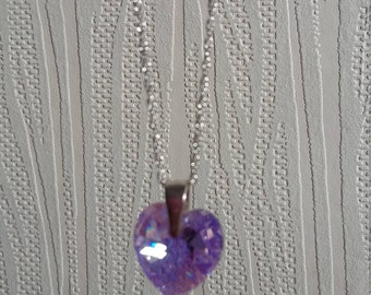 SALE: Swarovski Crystal Heart Shaped Pendant on Sterling Silver Chain