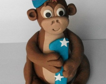 1 edible 3d CUTE CHEEKY MONKEY holding number or letter cake decoration topper jungle animal gumpaste sugarcraft baby shower birthday