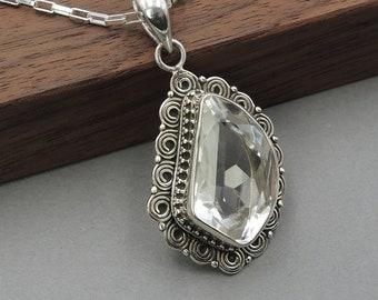 Crystal Necklace - Sterling Silver, Quartz Necklace, quartz crystal, boho, bohemian jewelry, hippie jewelry, clear quartz, gemstone