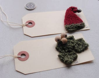 Christmas gift tags hand knitted  1 holly+ berries 1 Christmas hat+bell on buff tag