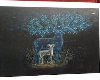 The Ancestor Stag. Print. stag and fawn print. Stag print with Fawn