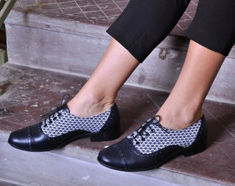Boggart - Womens Handmade Oxfords, Floral Oxfords, Leather Brogues, Casual Shoes, Oxfords, Custom Shoes, FREE customization!!!
