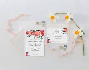 Wedding Invitation Suite, Wedding Invitations, Floral Wedding Invitation, Spring Summer, Floral Peach Pink 076