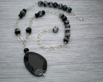 Nightlife necklace, black and white agate, sterling silver, black fire agate, rock star necklace, unique jewelry by Grey Girl Designs