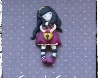 Gorjuss Style doll brooch.