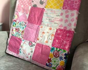 Baby Quilt, Baby Girl Quilt, Pink Baby Quilt, Tummy Time Quilt, Pink Nursery Blanket, Pink and Gray Crib Bedding