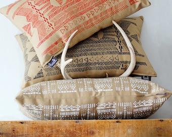 SALE, Going Hunting, Red and Cornstalk, Modern Printed pillow, Hand Printed Pillow Cover, printed throw pillow, tribal print, Simka Sol