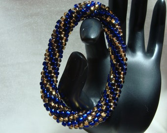 Blue and Gold Beaded Crochet Bangle Bracelet, Rolls on Over Your Hand, Ready to Ship!