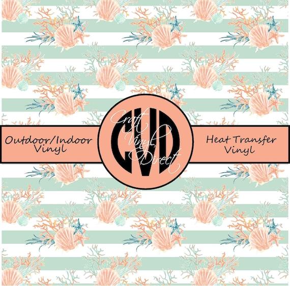 Beautiful Sea Shell Patterned Vinyl // Patterned / Printed Vinyl // Outdoor and Heat Transfer Vinyl // Pattern 678
