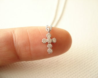 Tiny silver cross necklace..simple everyday, bridal jewelry, minimalist, religious jewelry, wedding, bridesmaid gift